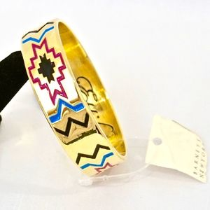 ETTIKA~geometric enamel~GOLD BANGLE BRACELET